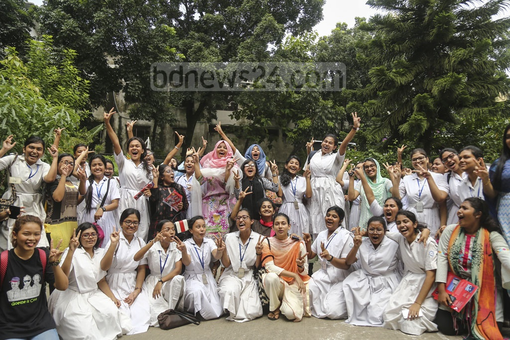 HSC candidates of Holy Cross College celebrate their success after the publication of the results on Wednesday. Photo: Mahmud Zaman Ovi