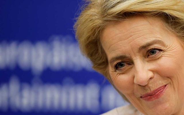 Elected European Commission President Ursula von der Leyen reacts during a news conference after the vote on her election at the European Parliament in Strasbourg, France, Jul 16, 2019. REUTERS
