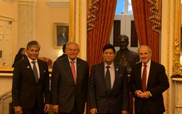 Foreign Minister A K Momen with US Senator James E Risch (R-Idaho) and Senator Bob Menendez (D- New Jersey)