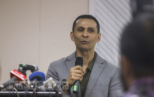 Former state minister for home affairs Tanjim Ahmad Sohel Taj speaking at a media conference in Dhaka on his upcoming reality TV show 'Hotline Commando' which aims to find solution to social problems. Photo: Abdullah Al Momin