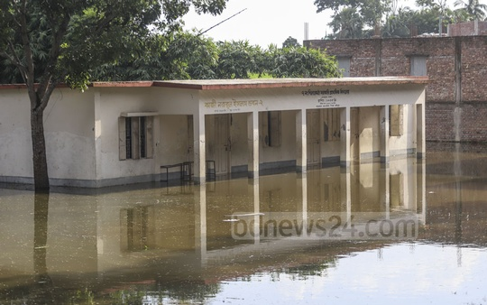 Floods submerge the Shilkotha Government Primary School in Dhaka's Dohar.