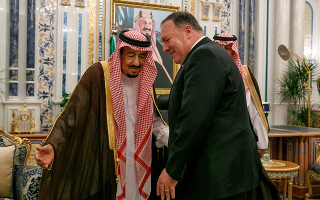 US Secretary of State Mike Pompeo meets with King Salman at Al Salam Palace in Jeddah, Saudi Arabia June 24, 2019. Reuters