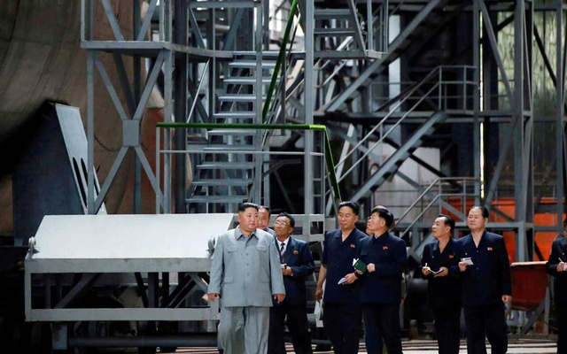 North Korean leader Kim Jong Un visits a submarine factory in an undisclosed location, North Korea, in this undated picture released by North Korea's Central News Agency (KCNA) on Jul 23, 2019. KCNA via REUTERS