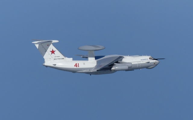 A Russian A-50 military aircraft flies near the disputed islands called Takeshima in Japan and Dokdo in South Korea, in this handout picture taken by Japan Air Self-Defence Force and released by the Joint Staff Office of the Defense Ministry of Japan July 23, 2019. Joint Staff Office of the Defence Ministry of Japan/HANDOUT via REUTERS