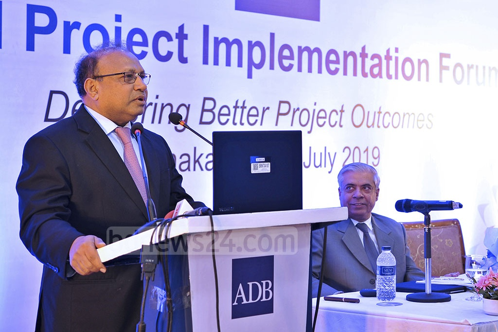 LGRD Minister Md Tajul Islam speaking at the launch of Project Implementation Forum organised by Asian Development Bank at the Bangabandhu International Conference Centre on Wednesday.