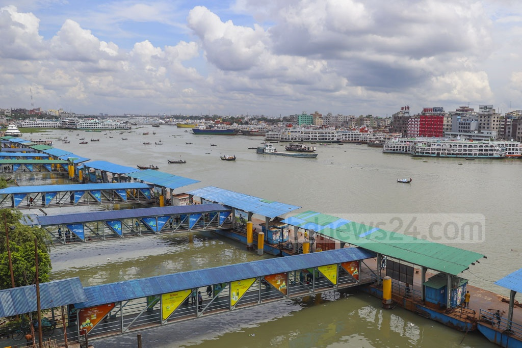 No vessel is docked at Sadarghat Launch Terminal in Dhaka at 2pm on Wednesday during a strike by water transport workers over an 11-point charter of demand. Photo: Abdullah Al Momin