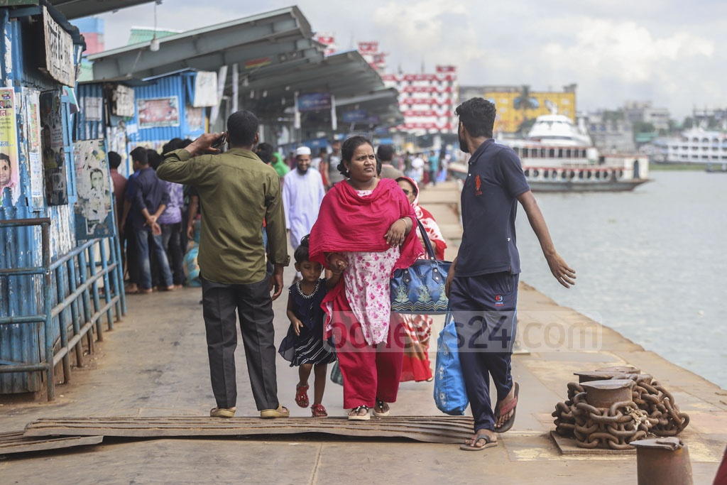 Passengers suffered on Wednesday during a strike by water transport workers over an 11-point charter of demand. This photo was taken from Sadarghat Launch Terminal in Dhaka. Photo: Abdullah Al Momin