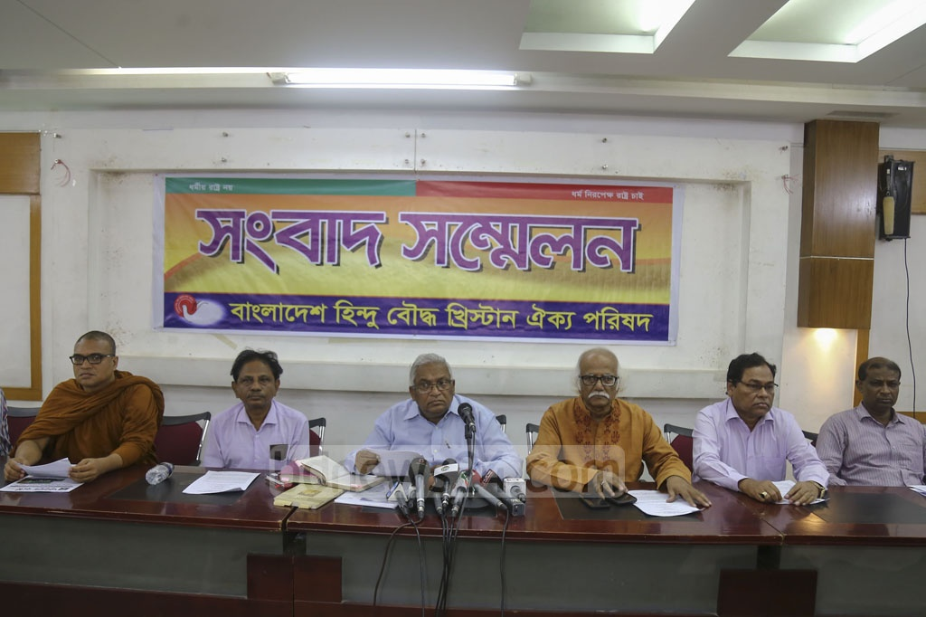 Rana Dasgupta, head of the Hindu Buddhist Christian Unity Council, making their position clear over Priya Saha's allegations to US President Donald Trump about the persecution of minorities in Bangladesh at a media briefing in the National Press Club in Dhaka on Thursday. Photo: Mahmud Zaman Ovi