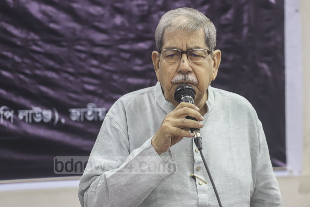 National Professor Anisuzzaman speaking at a commemoration of writer, journalist, social worker and former MP AN Mahfuza Khatun Baby Maudud on her fifth death anniversary at the National Press Club in Dhaka on Friday. Photo: Abdullah Al Momin