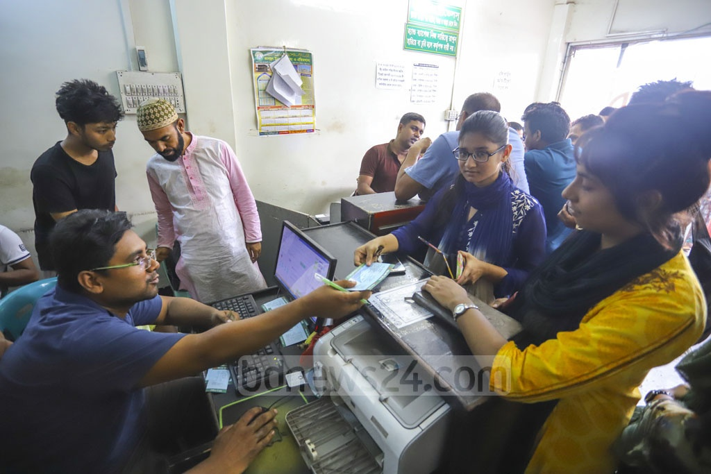 The sale of advance bus tickets ahead of Eid-ul-Azha journey starts at Gabtoli Bus Terminal on Friday. Photo: Asif Mahmud Ove