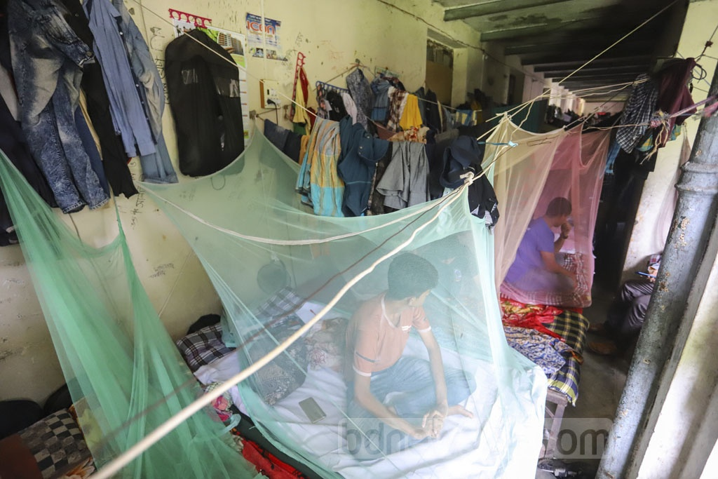 The death of a Dhaka University student from dengue amid an outbreak has spread panic across the campus. Students of Sir Nawab Salimullah Muslim Hall are staying inside mosquito nets even during daytime. Photo: Asif Mahmud Ove