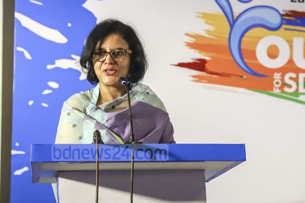 BGMEA President Rubana Huq speaking at the launch of Youth for SDG 6, an WaterAid platform to ensure their inclusion in actions for safe water, sanitation, and hygiene as per the Sustainable Development Goal related to water set by the UN at a Dhaka hotel on Sunday. Photo: Abdullah Al Momin