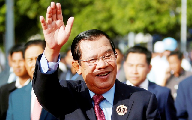 FILE PHOTO: President of the ruling Cambodian People's Party (CPP) and Prime Minister Hun Sen attends a ceremony to mark the 68th anniversary of the establishment of the party in Phnom Penh, Cambodia, Jun 28, 2019. REUTERS