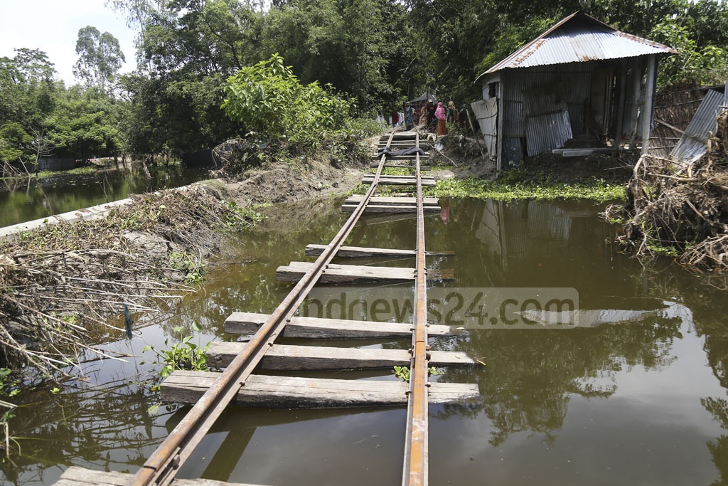 Railway communication between Kurigram and Ulipur remained suspended as flash floods affected the area last month. The photo was taken from Chilmari Upazila in Kurigram on Tuesday. Photo: Mahmud Zaman Ovi