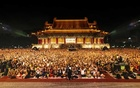 The crowd of nearly 50,000 stretched together during intermission at Saturday's Cloud Gate Dance Theater show in Taipei.The New York Times