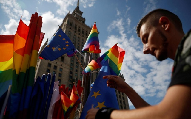 FILE PHOTO: A participant attends a protest against violence that took place against the LGBT community during the first pride march in Bialystok earlier this month, in Warsaw, Jul 27, 2019. REUTERS