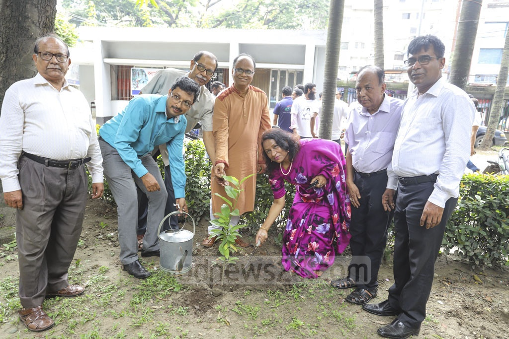 National Press Club President Saiful Alam and General Secretary Farida Yasmin planted a tree in front of the National Press Club in Dhaka on Saturday.