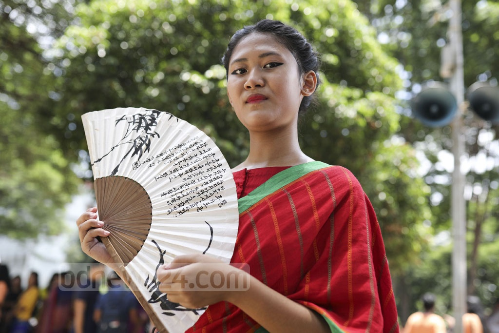 A woman of Garo community joined the event at Dhaka's Central Shaheed Minar. Photo: Mostafigur Rahman