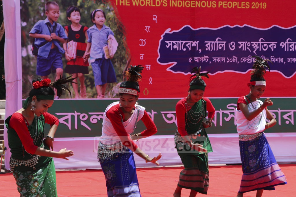 Members of multiple indigenous groups performing to mark the World Indigenous Day at Dhaka's Central Shaheed Minar on Monday. Photo: Mostafigur Rahman