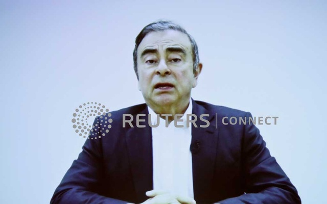 A video statement made by the former Nissan Motor chairman Carlos Ghosn is shown on a screen during a news conference by his lawyers at Foreign Correspondents' Club of Japan in Tokyo, Japan Apr 9, 2019. REUTERS