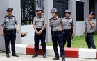 Heavy police stand guard outside of Western District Court were eight people charged with financing terrorism will appear in Yangon, Myanmar, August 9, 2019. Reuters