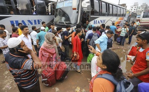 Some buses packed with Eid holidaymakers were leaving Dhaka over 12 hours behind schedule on Saturday afternoon. Transporters said traffic congestions on highways delayed the return of the buses from other districts. Photo: Asif Mahmud Ove