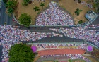 An aerial picture of Indonesian Muslims offering Eid al-Adha prayers in Ciamis, West Java province, Indonesia, August 11, 2019 in this photo taken by Antara Foto. Antara Foto/Adeng Bustomi/ via REUTERS ATTENTION EDITORS - THIS IMAGE WAS PROVIDED BY A THIRD PARTY. MANDATORY CREDIT. INDONESIA OUT.