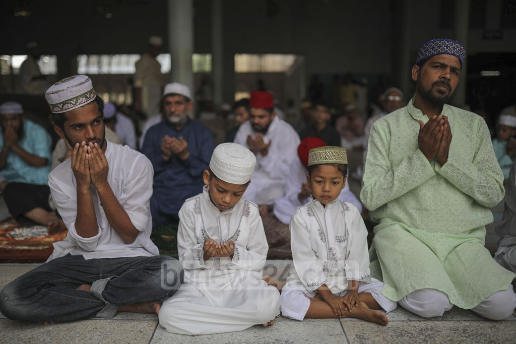 Muslims praying for peace and prosperity of Bangladesh and its people at the prayer service in Baitul Mukarram for Eid-ul-Azha on Monday. Photo: Mostafigur Rahman