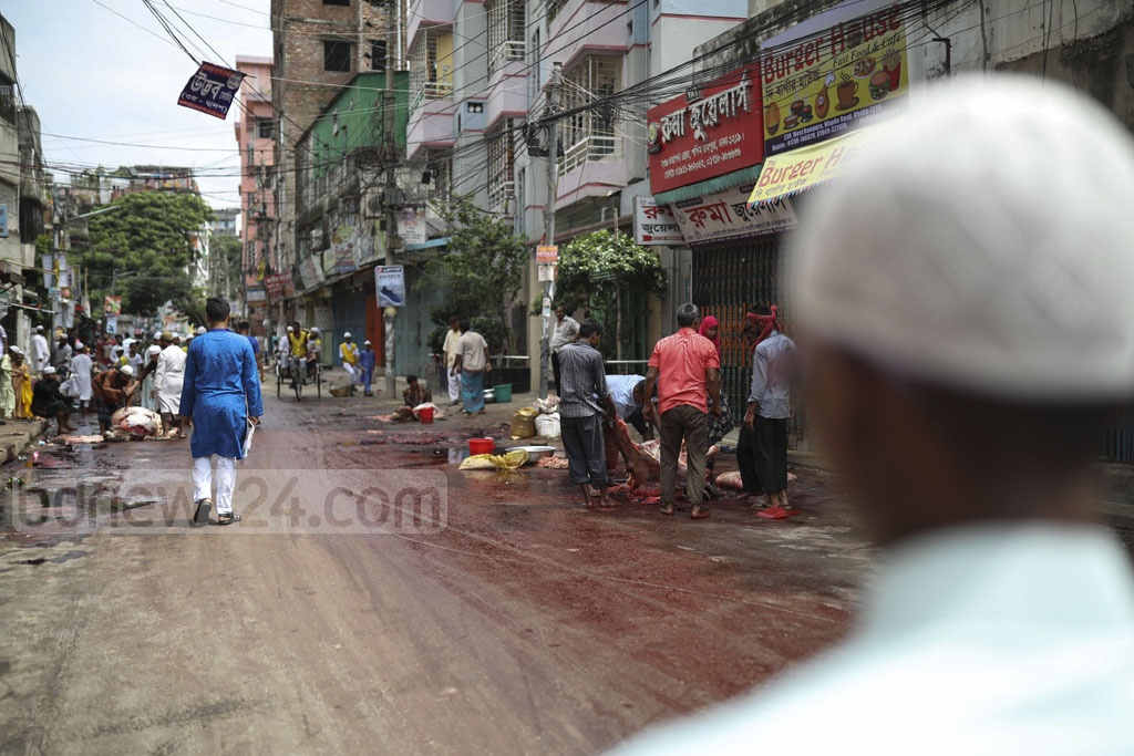 Despite the two city corporations of Dhaka allocating specific spots for sacrificing cattle in the capital, the designated spots largely went unused with citizens performing the Korbani ritual on the streets of Rampura's Wapda Road on Eid-ul-Azha on Monday. Photo: Mostafigur Rahman
