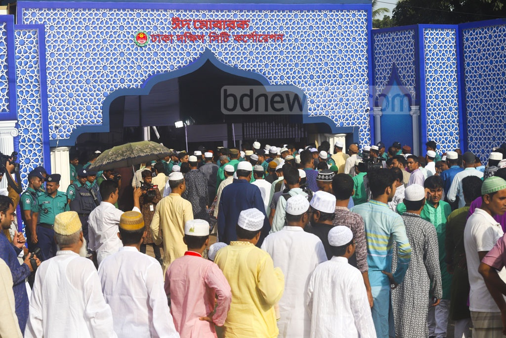 Muslims from different strata of society gathering at the National Eidgah ground in Dhaka on Monday morning to take part in Bangladesh's main Eid-ul-Azha congregation. Photo: Abdullah Al Momin