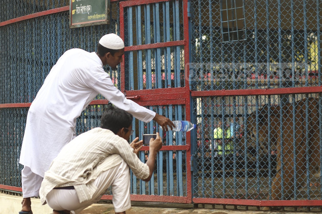 Many crossed the primary barrier and flirted with danger to take photos of tiger at Dhaka zoo in Mirpur on Tuesday, a day after the Eid-ul-Azha. Photo: Mahmud Zaman Ovi