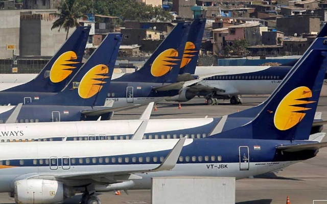 FILE PHOTO: Jet Airways aircraft are seen parked at the Chhatrapati Shivaji Maharaj International Airport in Mumbai, India, April 18, 2019. REUTERS