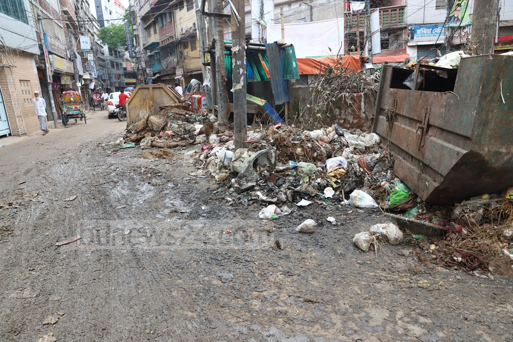 Cattle wastes are yet to be cleared in Old Dhaka's Bangsal area. The photo was taken around 1pm on Tuesday, a day after the Eid-ul-Azha. Photo: Abdullah Al Momin