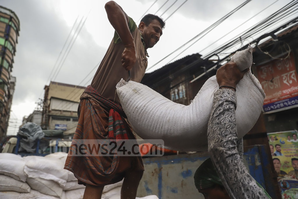 Sacks of salt brought to Posta in old Dhaka for applying on rawhides for preservation. Photo: Abdullah Al Momin