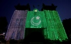 A general view of the Metropolitan building illuminated with national flag, ahead of Pakistan's Independence Day in Lahore, Pakistan Aug 13, 2019. REUTERS