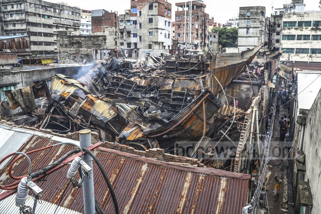 A fire destroyed several tin-roofed plastic factories on a compound in Old Dhaka's Islambagh late on Wednesday night. This photo was snapped on Thursday. Photo: Abdullah Al Momin