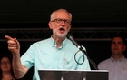 FILE PHOTO: Britain's opposition Labour Party leader Jeremy Corbyn gestures as he speaks during a rally calling for a general election in London, Britain Jul 25,2019. REUTERS
