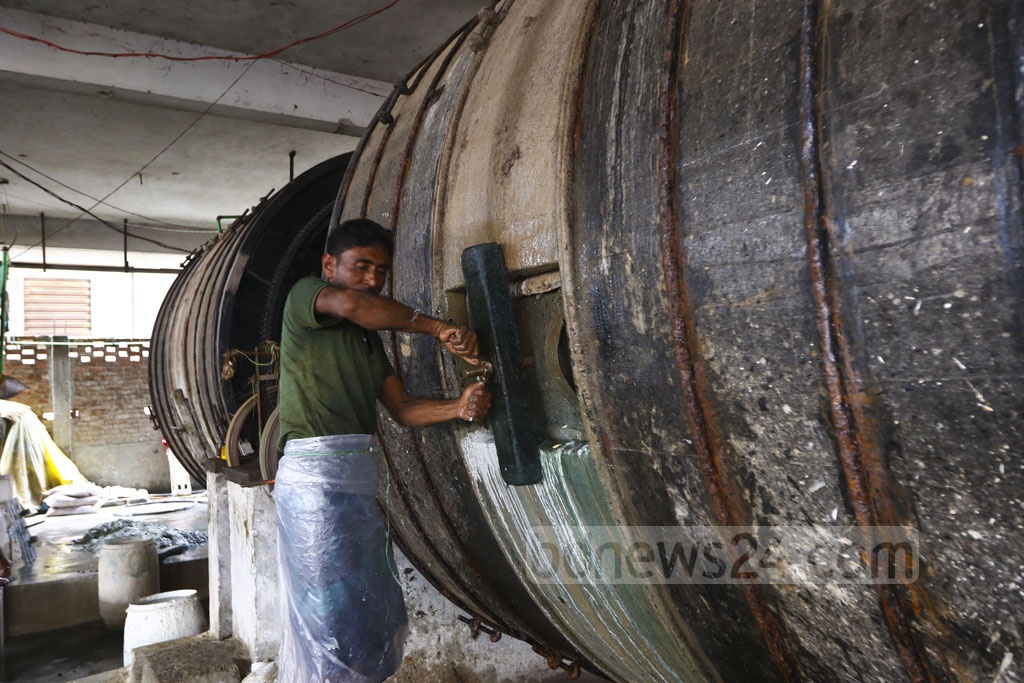A worker processing previously bought hides in a tannery in Savar after Eid-ul-Azha. Photo: Mahmud Zaman Ovi