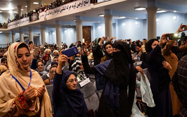 FILE -- Female delegates during the opening ceremony of Afghanistan's Grand Assembly in Kabul, Afghanistan, April 29, 2019. An expected agreement between the US and the Taliban to smooth future negotiations raises concerns that women may lose some freedoms. (Jim Huylebroek/The New York Times)
