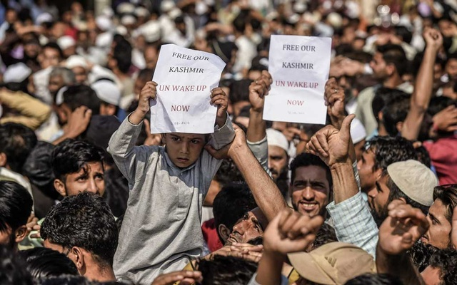 A protest against the ending of Kashmir's limited autonomy after Eid prayers in Srinagar, India, Aug. 12, 2019. After putting the region of Kashmir on lockdown for two weeks, the Indian government said schools would reopen on Monday, August 19, and phone service would be gradually restored. (Atul Loke/The New York Times)