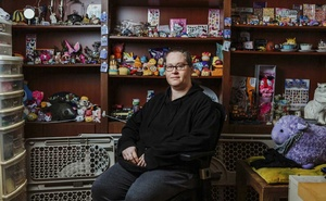 """Kristy Milland, a former data labeller for Amazon Mechanical Turk, with her collection of """"squishies"""" in her at-home workspace in Toronto, May 1, 2019. Tech executives rarely discuss the labor-intensive process that goes into the creation of artificial intelligence, which is learning from thousands of office workers around the world. (Arden Wray/The New York Times)."""