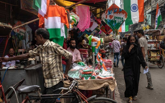 Indian flags for sale in New Delhi on Aug 14, 2019. More than four million people in India, mostly Muslims, are at risk of being declared foreign migrants as the government pushes a hard-line Hindu nationalist agenda that has challenged the country's pluralist traditions and aims to redefine what it means to be Indian. The New York Times
