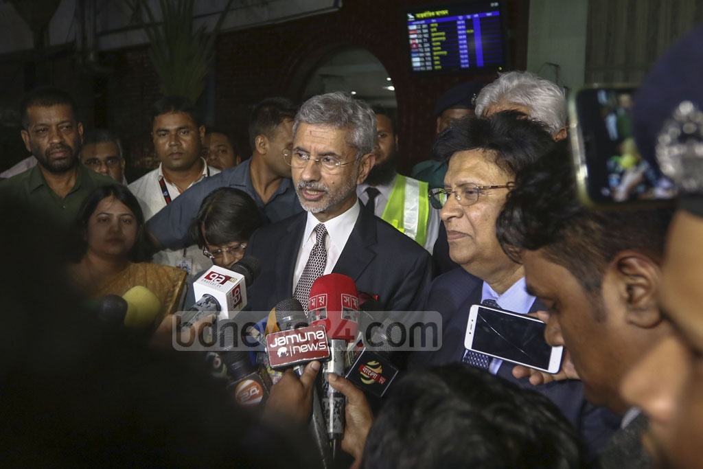 India's External Affairs Minister S Jaishankar speaking to the media on his arrival at Shahjalal International Airport on a three-day visit on Monday. Photo: Mahmud Zaman Ovi