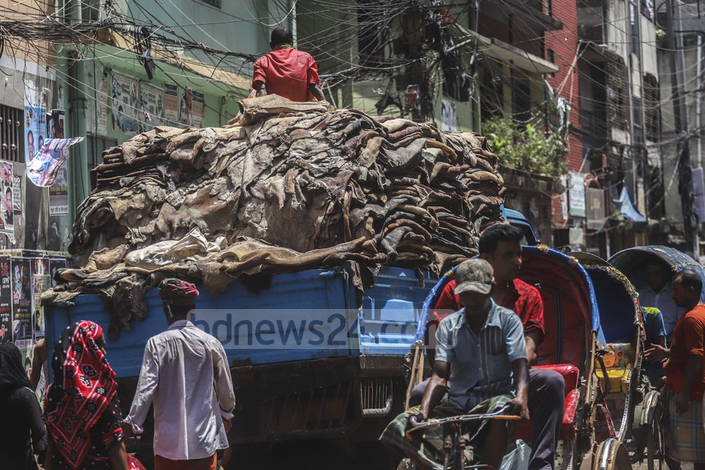 A truck loaded with rawhides is bound for the Leather Industry City in Savar from Old Dhaka's Posta. Photo: Abdullah Al Momin