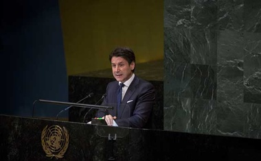 FILE-- Prime Minister Giuseppe Conte of Italy delivers remarks at the 73rd session of the United Nations General Assembly at UN headquarters in New York on Wednesday, Sept 26, 2018. On Aug 20, 2019, Conte announced his resignation, choosing to quit before a confidence vote promoted by the hard-line and increasingly popular interior minister, Matteo Salvini. (Dave Sanders/The New York Times)