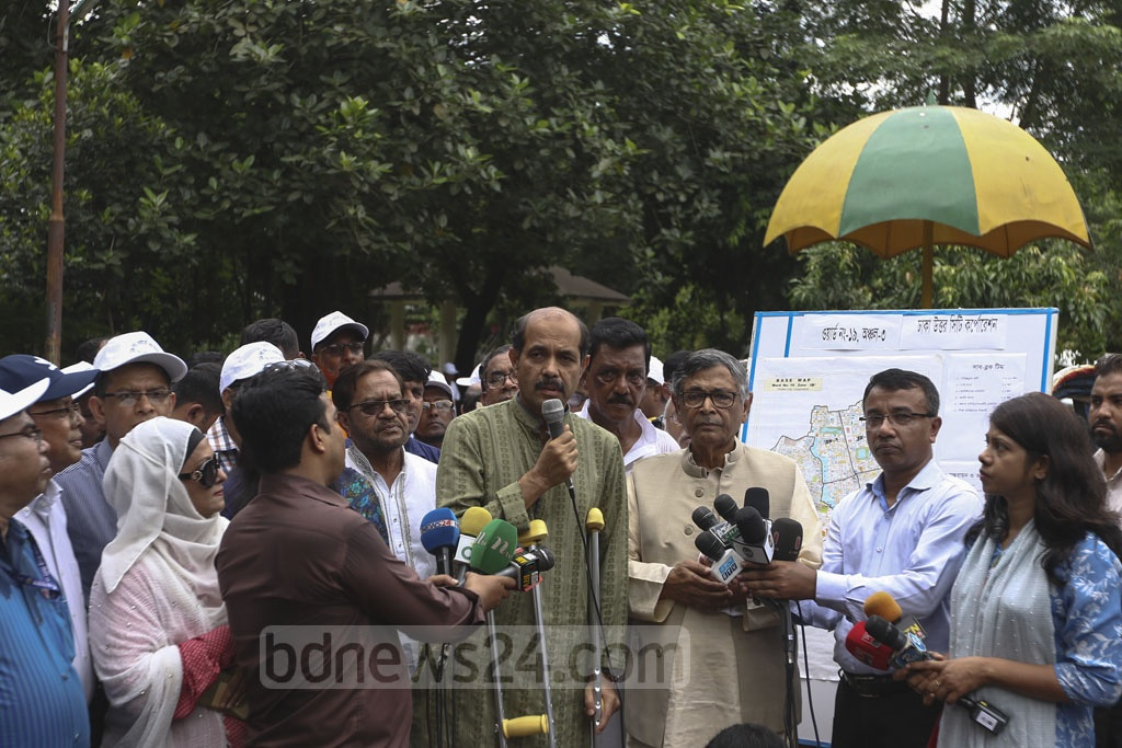 DNCC Mayor Atiqul Islam speaks at an awareness programme about Aedes mosquitoes at Shahid Fazle Rabbi Park at Gulshan-1 in Dhaka on Tuesday. Photo: Mahmud Zaman Ovi