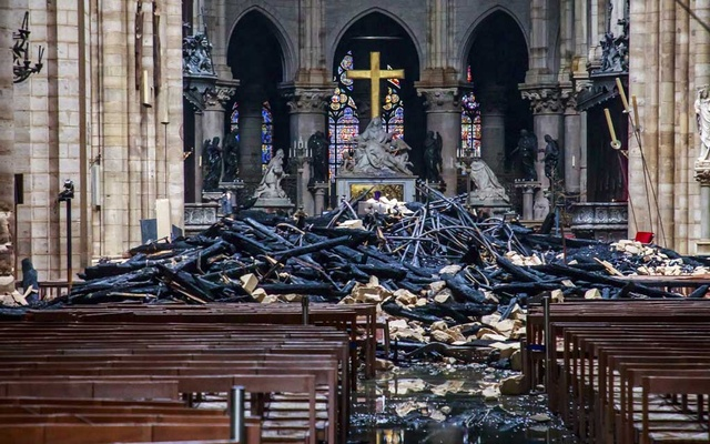 The damaged interior of Notre Dame Cathedral in Paris on Tuesday, April 16, 2019. The New York Times