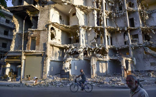 Residential buildings destroyed during the war by government forces in eastern Aleppo, Syria, Jun 22, 2019. The New York Times