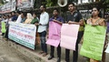 Protesters form a human chain to demand justice for the murder of Asma Akter in a train compartment in Dhaka.