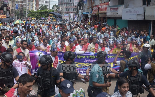 A colourful procession was brought out at Andarkilla in Chittagong on Friday to celebrate Janmashtami, the birth anniversary of Lord Sri Krishna. Photo: Suman Babu